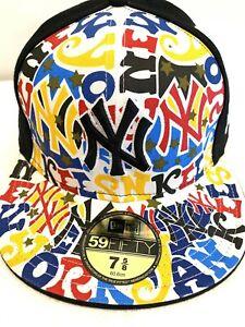 NEW YORK GRAFFITI FLAT PEAK BASEBALL CAP, NEW ERA FITTED HAT, HIP HOP RETRO FUNK