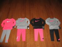 Nike 2 Pc Set Dri-fit longsleeve Shirt & Jogger pants Girls 12M / 2T/ 3T /4T NWT