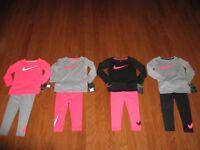 Nike 2 Pc Set Dri-fit longsleeve Shirt & Jogger pants Girls 12M / 2T/ 3T /4T NWT