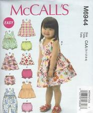 McCALL'S SEWING PATTERN TODDLERS TOP DRESSES ROMPERS PANTIES SIZES 1/2- 4  M6944