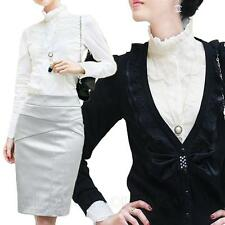 Womens lace shirt Blouse Office Fitted Casual Elegant Victorian Smart Top Size