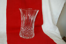 Lead Crystal Diamond Cut Hourglass Shaped Vase 6 inches