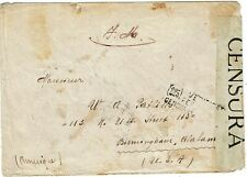 France 1916 manuscript F.M. on censored cover to U.S., label for the Lusitania