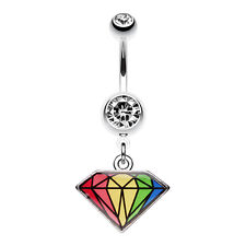 Prism Rainbow Diamond Belly Navel Button Ring Clear 14G