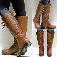 New Women GMv1 Camel Red Zipper Combat Military Knee High Riding Boots