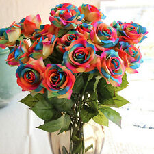 Sweet Rose Blue Bouquet Silk Decor Wedding Real Touch Home Design Roses Flowers