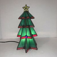 Vintage Tiffany Christmas Tree Accent Lamp Stained Glass 222079 Electric NIB
