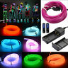 LED Neon Light Glow EL Wire String Strip Rope Tube Decor Car Party + Controller