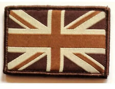Official Forces Style Sew On & Velcro Embroidered Patch Union Jack Flag Brown