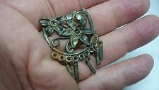 Nice broken Vintage Silver once Guilded brooch with stones remaining 19th C L93k