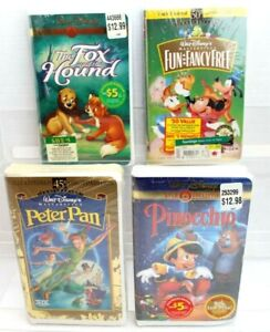 NEW Vintage VHS Set of 4~The Fox and the Hound,Fancy Free, Peter Pan & Pinocchio