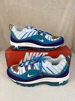 Nike Air Max 98 Charlotte Hornets 640744-500 Court Purple Spirit Teal Sz 10 NEW