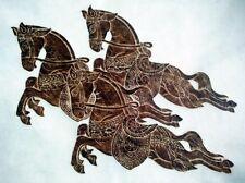 "Thai Temple Rubbing -Brown -3 Running Horses Art Picture 24"" x 24"" Plus Reg."