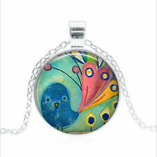 Fancy Tail Peacock Tibet silver Glass dome Necklace chain Pendant Wholesale