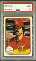 1981 Fleer #547 Don Hood St. Louis Cardinals PSA 9 Only 5 Graded Higher