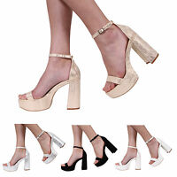 LADIES WOMENS BLOCK HIGH HEEL PEEPTOE ANKLE STRAP SANDALS SHOES SIZE SIZE 3-8