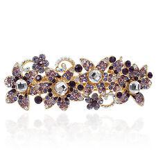 Purple Rhinestone Crystal Flower Barrette Gold Tone Hair Clip Party Gift