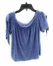 Girls Short Sleeve Top Cold Shoulder Casual Top Blue Size Large