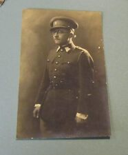 WWI German Army Officer Soldier Posing in Full Uniform RPPC Real Photo Postcard