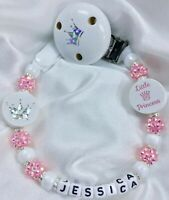 ♕Little Princess DUMMY CLIP ♕ Name Choice Max 10 Letter ♕ WHITE & PINK SPARKLE ♕