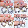 925 Silver Rose Gold Crystal Round Hoop Earrings Women Jewellery Party Wedding
