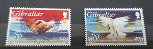 Gibraltar Stamps. 1995 United Nations: 50 Years. Set of 2 unmounted mint.