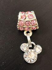 Rhinestone Mickey Mouse  Dangle Charm On Pink Bail For European Bracelets