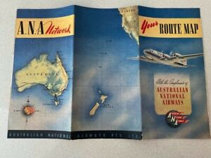 Australian National Airways Route Map In excellent condition