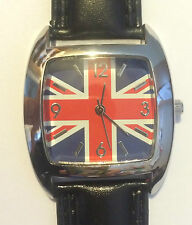 Unisex Childs Union Jack Black Strap Square Face Fashion Quartz Watch bxd 16a