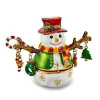 Jere Luxury Giftware, Bejeweled LOGAN Snowman Tree Trinket Box with Matching Pen