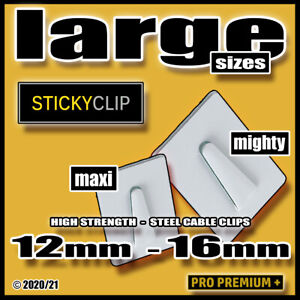 Large Stick On Sticky Backed Steel Cable Clips Wires Flex Cord Cables 12 & 16mm