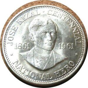 elf Philippines 1 Peso 1961 Silver Jose Rizal   Philadelphia Mint