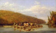 Lumbermans ferry Cornelius david Krieghoff ferry bovinos vacas río B a3 01328