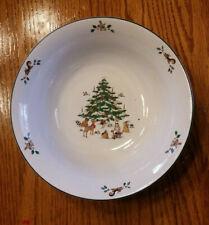 Ming Pao WOODLAND CHRISTMAS Rimmed Vegetable Bowl Vintage