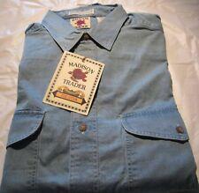 Men's Denim Shirt 2 Pocket Medium Size Button down 100 % Cotton Madison Trader