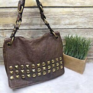 Fossil Long Live Vintage Brown Leather Studded Purse Shoulder Bag Handbag