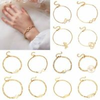 Fashion Women Gold Stainless Steel Love Heart Chain Cuff Bracelet Bangle Jewelry