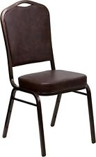 Crown Back Stacking Banquet Chair in Brown Vinyl with Copper Vein Frame