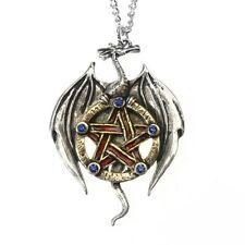 New Galraedia Earth Dragon Pentagram Pendant Necklace Blue Crystal GA10