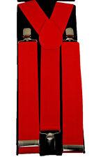 "Unisex Clip-on Braces Elastic ""Red"" Y -Back Suspender 1 1/2"""