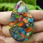 Beautiful Rainbow Sea Sediment Jasper & Pyrite Pendant Bead XLZ-12