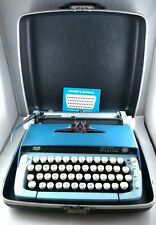 Vintage Smith Corona Sterling Blue Typewriter Portable Cased 1960's Retro SCM