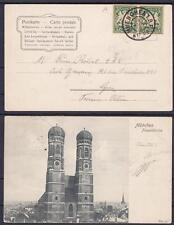 Baviera 2x 5 PF stemma su estere AK donne Chiesa Monaco a Lione 28.04.1905