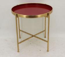 Beistelltisch Couchtisch Metalltisch Metall Farbe: Rot/Antik-Gold