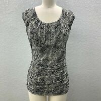 Classiques Entier Ruched Side Top Womens L Black White Stretch Sleeveless Silk
