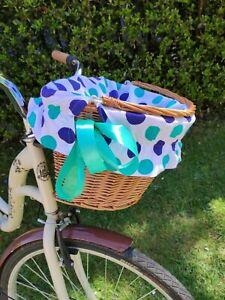 Bike Basket Blue Mint Green Dots on White -wicker metal insert cover cycling