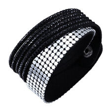 Crystal Closure Cuff Rhinestone Slake Duo Black Bracelet Swarovski Element