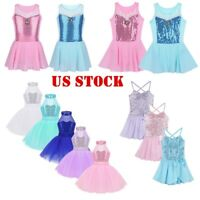 US Girls Pincess Leotard Dress Kids Sequins Ballet Dance Gym Dress Lyrical Skirt