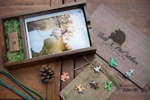 Custom photography logo maple walnut 5x7 album Wooden box + USB 2.0 3.0 penDrive
