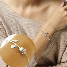Women Fashion Rose Flower Bangle Gold Filled  Chain Bracelet Jewelry Gifts